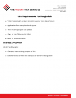 Bangladesh Visa requirements