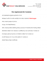 Cameroon Visa requiremants