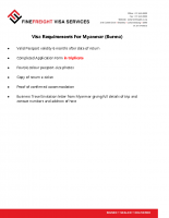Myanmar (Burma) Visa Requirements