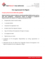 Nigeria Visa Requirements for Temporary Work Permit (TWP)