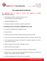 Norway Visa Requirements